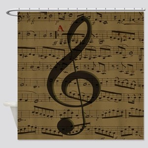 Musical Treble Clef sheet music Shower Curtain
