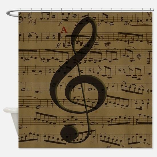 Musical Treble Clef sheet music Shower Curtain