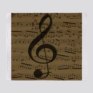 Musical Treble Clef sheet music Throw Blanket