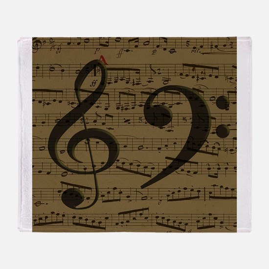 Treble Clef Bass sheet music Throw Blanket