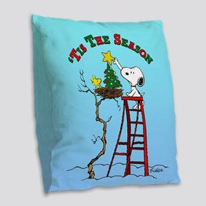 Peanuts Tis the Season Burlap Throw Pillow