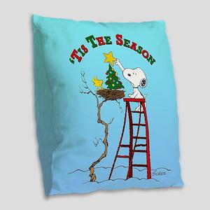 Peanuts Tis the Season Burlap Throw Pillow