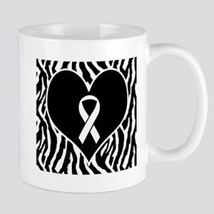 Lung Cancer Zebra Heart Mug