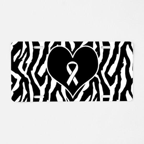 Lung Cancer Zebra Heart Aluminum License Plate