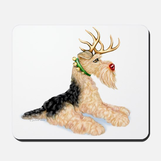 Airedale Christmas Dale Deer Mousepad