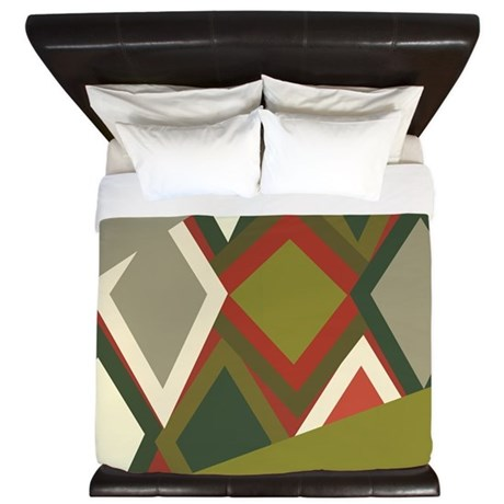 Uzbeck Olive and Tomato Abstract King Duvet