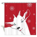 Adorable Red Christmas Goat Shower Curtain