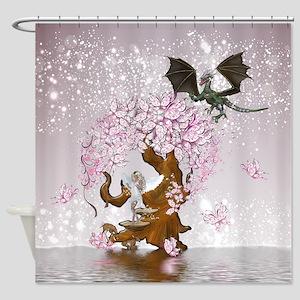 Fantasy Faerie Butterflies & Dragon Shower Cur