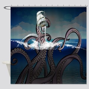 Kraken Attacks Ship At Sea Shower Curtain