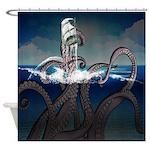Kraken Attacks Ship At Sea Shower Curtain