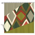Uzbek Olive Green And Tomato Red Shower Curtain