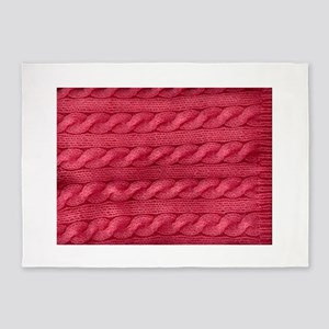 Wool cables in pink 5'x7'Area Rug