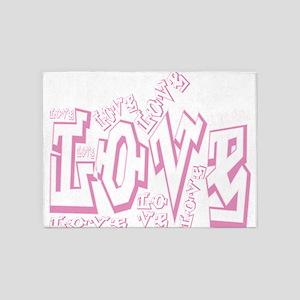 Lil pink crush love graffiti white 5'x7'Area Rug