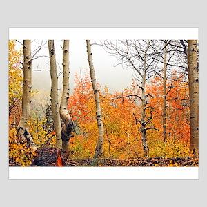 Misty Autumn Aspen 2 Small Poster