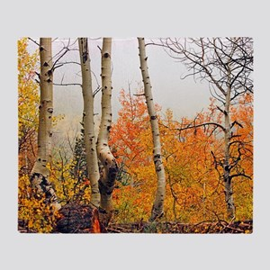 Misty Autumn Aspen 2 Throw Blanket