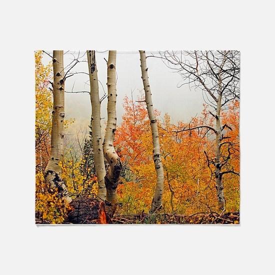 Misty Autumn Aspen 2 Throw Blanket