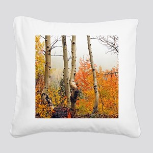 Misty Autumn Aspen 2 Square Canvas Pillow