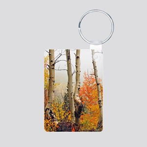 Misty Autumn Aspen 2 Aluminum Photo Keychain