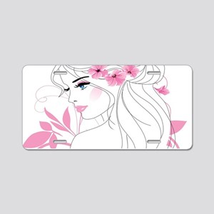 Floral Woman Aluminum License Plate