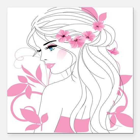 """Floral Woman Square Car Magnet 3"""" x 3"""""""