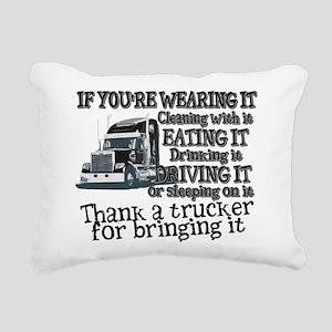 Thank A Trucker For Bringing It Rectangular Canvas