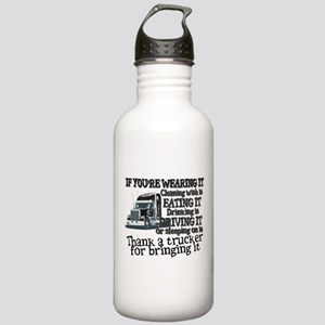 Thank A Trucker For Bringing It Water Bottle