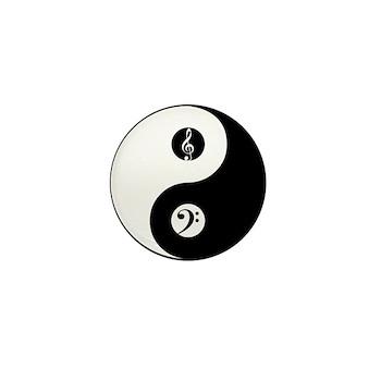 Yin Yang W/Bass And Treble Clefs Mini Button