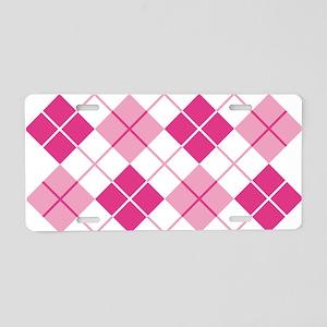 Pink Argyle Aluminum License Plate
