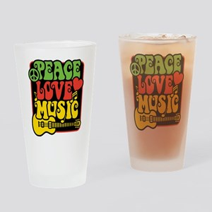 Rasta Peace Love Music Drinking Glass