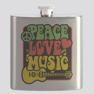 Rasta Peace Love Music Flask