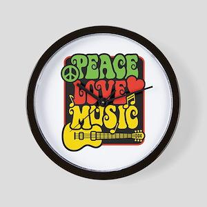 Rasta Peace Love Music Wall Clock