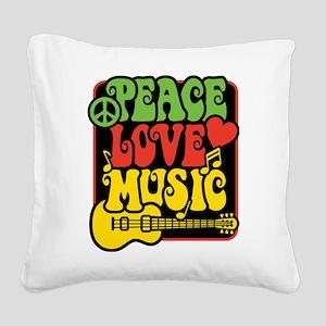Rasta Peace Love Music Square Canvas Pillow