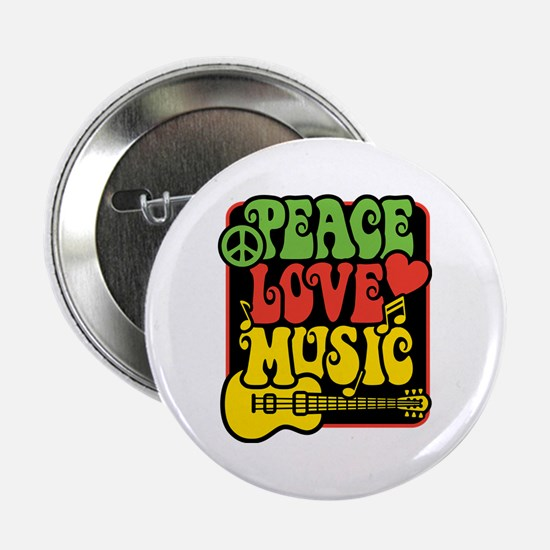 "Rasta Peace Love Music 2.25"" Button"