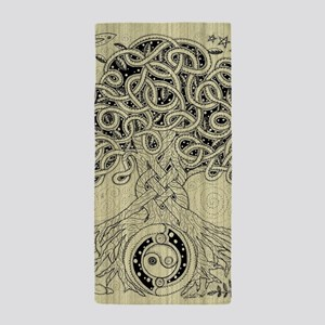 Circle Celtic Tree of Life Ink Beach Towel