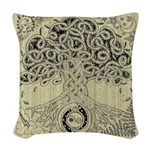 Circle Celtic Tree of Life Ink Woven Throw Pillow