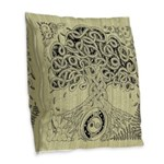 Circle Celtic Tree of Life Ink Burlap Throw Pillow