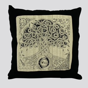 Circle Celtic Tree of Life Ink Throw Pillow