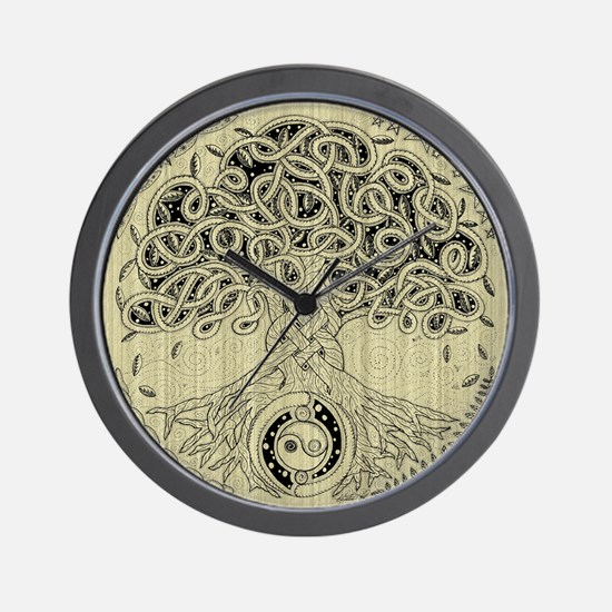 Circle Celtic Tree of Life Ink Wall Clock