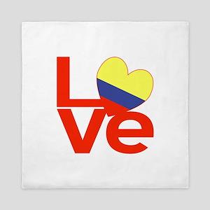 Red Colombia LOVE Queen Duvet