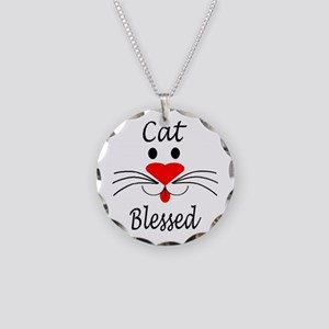 Cat Blessed Necklace Circle Charm