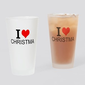 I Love Christmas Drinking Glass