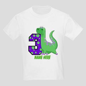Dinosaur 3rd Birthday Custom Kids Light T-Shirt