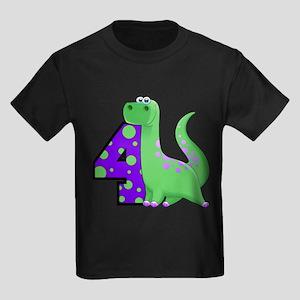 Dinosaur 4th Birthday Kids Dark T-Shirt