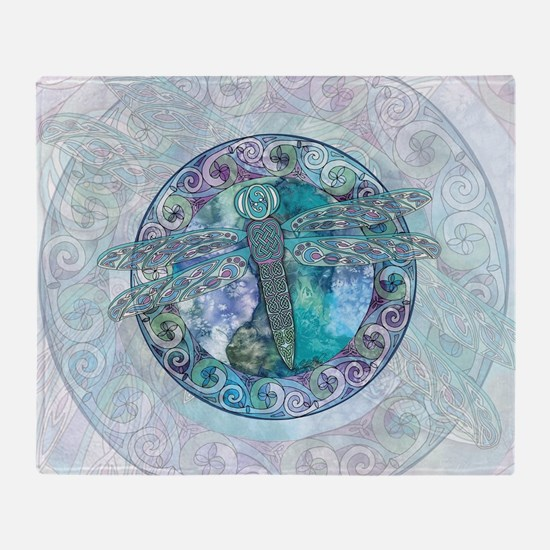 Cool Celtic Dragonfly Throw Blanket