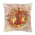 Warm Celtic Dragonfly Woven Throw Pillow
