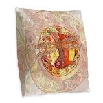 Warm Celtic Dragonfly Burlap Throw Pillow