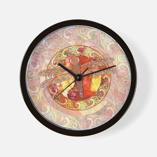 Warm Celtic Dragonfly Wall Clock