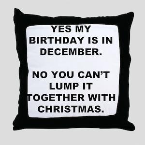 Christmas Birthday Throw Pillow