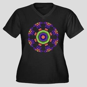 Star Burst Women's Plus Size V-Neck Dark T-Shirt