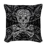 Celtic Skull and Crossbones Woven Throw Pillow